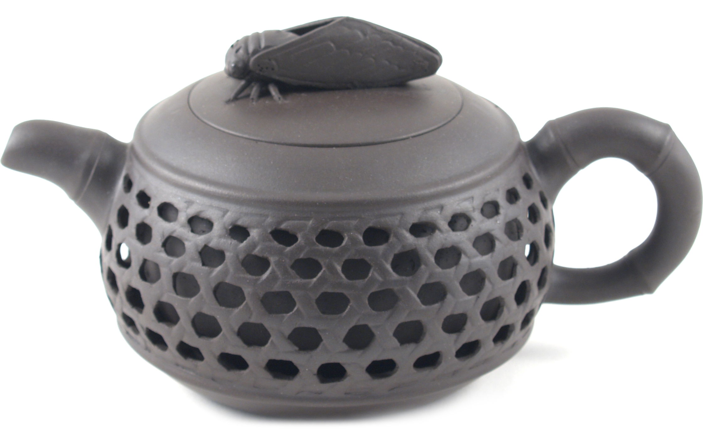 Brown Basket Weave Yixing Teapot, 9 Ounce