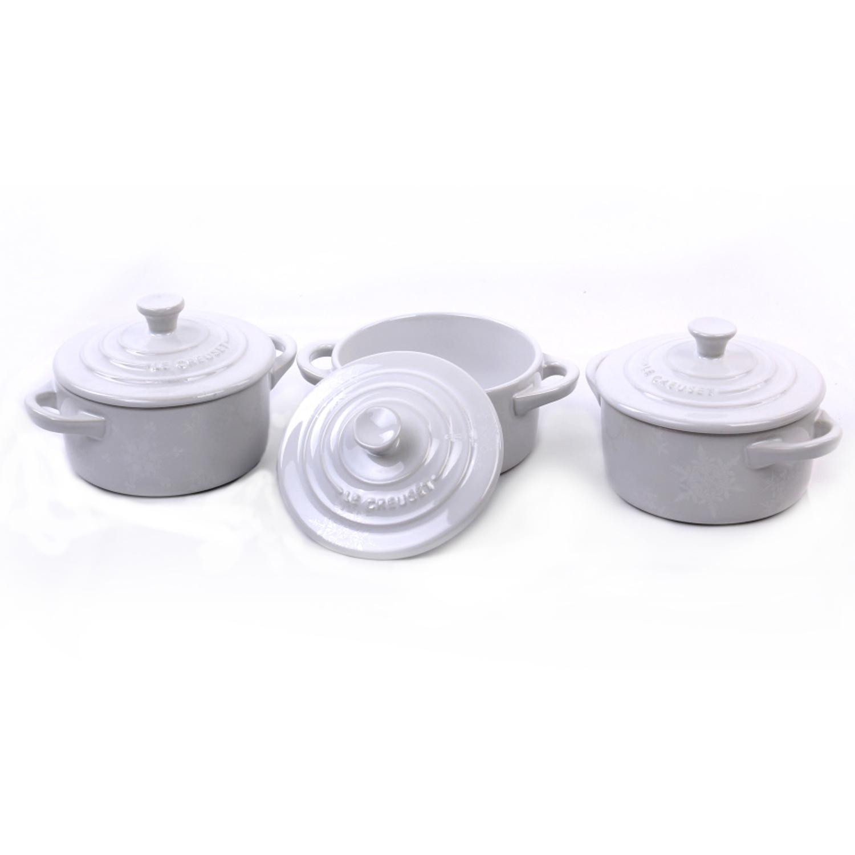 Le Creuset White Stoneware Mini Cocotte, Set of 3
