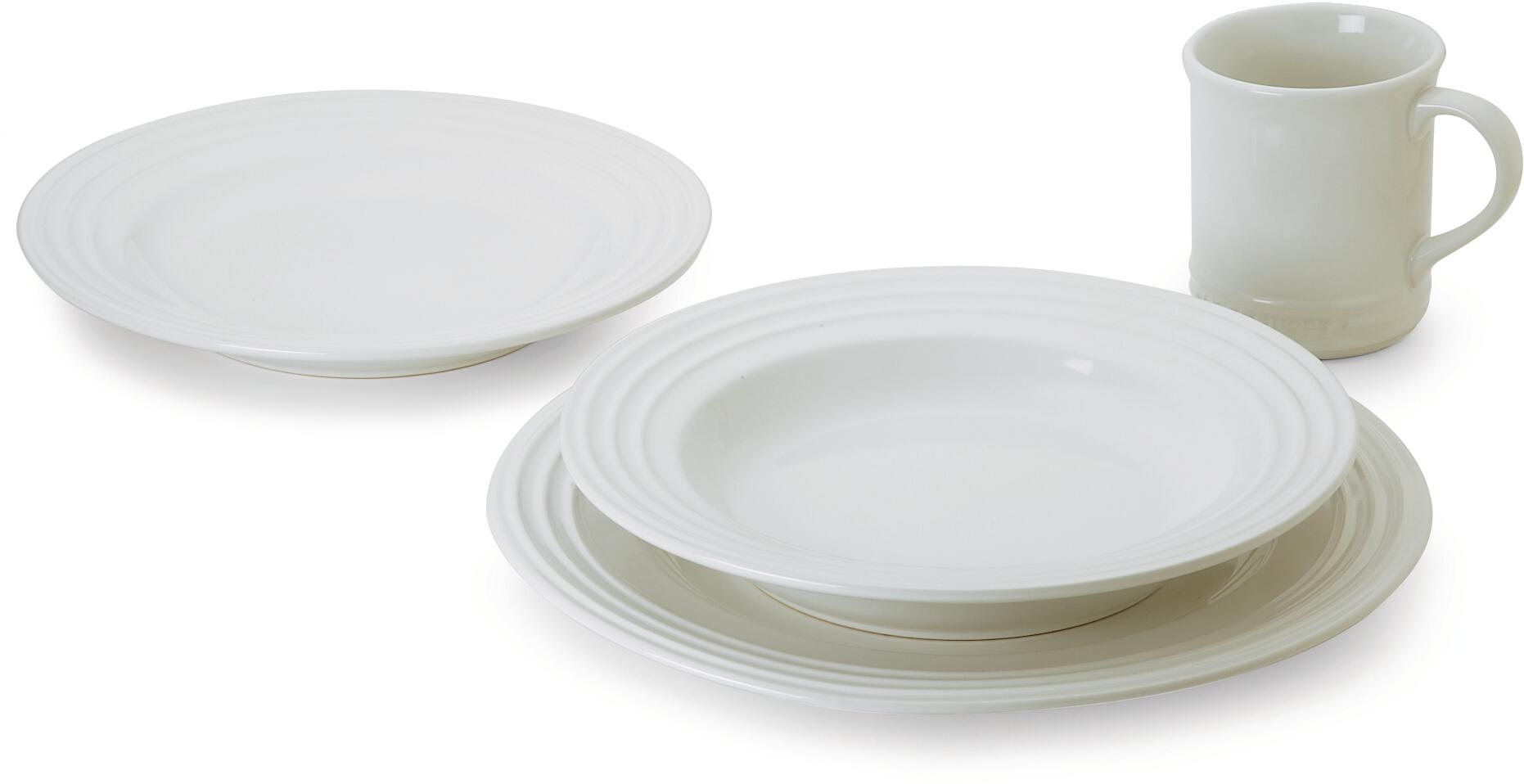 Le Creuset 16 Piece White Stoneware Dinnerware Set, Service for 4