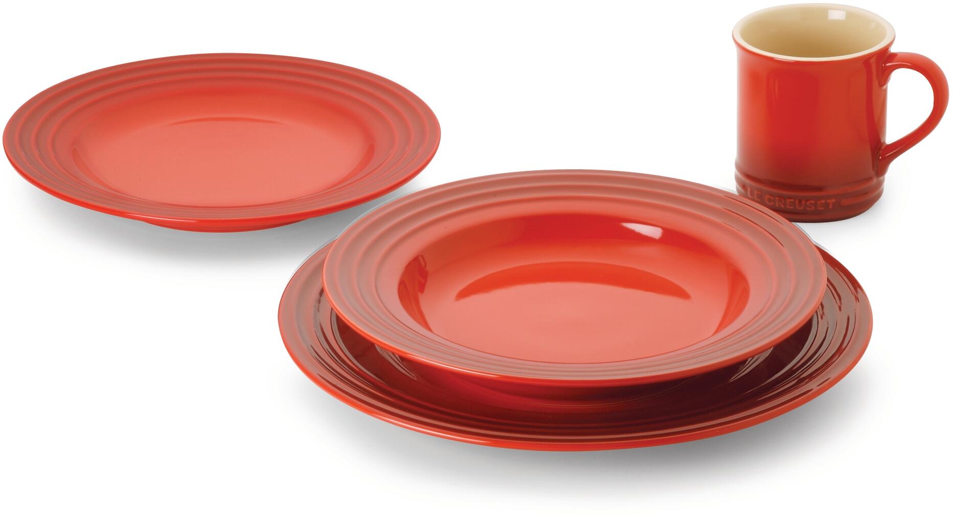 Le Creuset 16 Piece Cherry Stoneware Dinnerware Set, Service for 4
