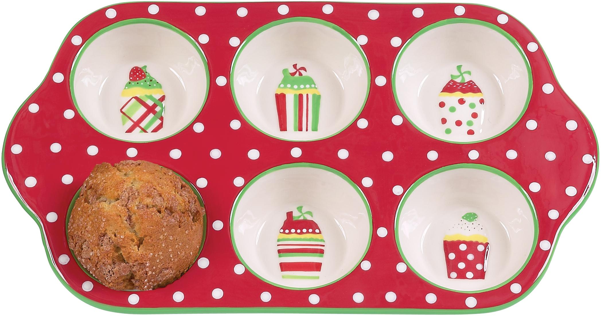 Boston Warehouse Merry Cupcakes 6 Cup Muffin Baking Pan