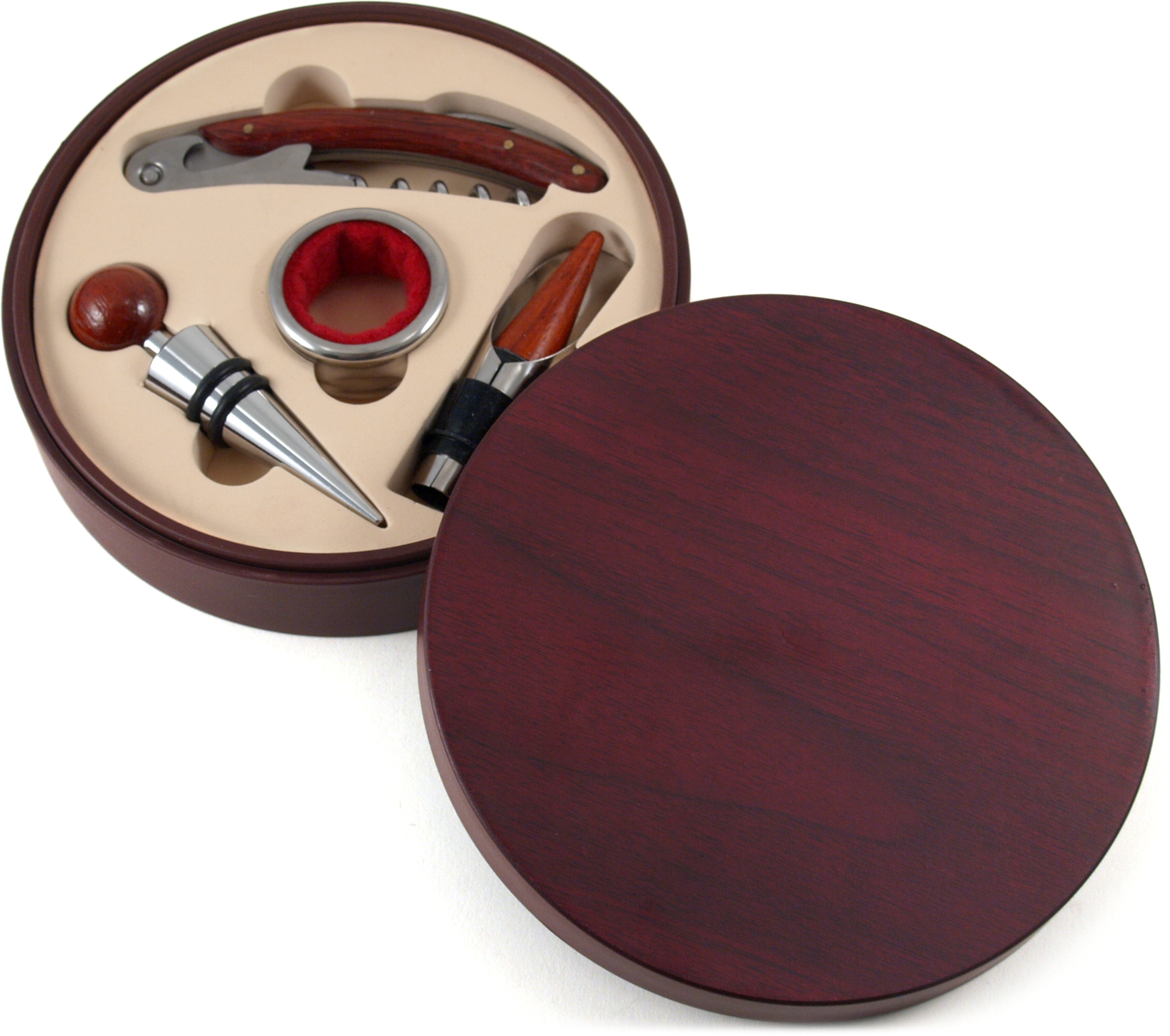Berkeley Designs 4 Piece Wine Accessories Round Hardwood Boxed Set