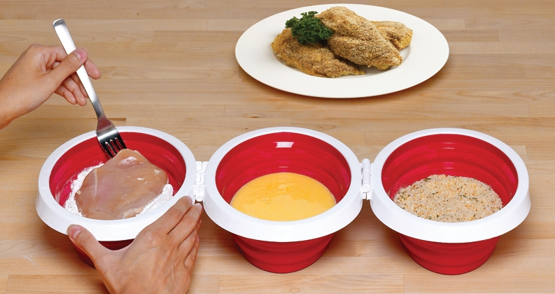 Xtraordinary Bread It Red Collapsible Breading Tray, Set of 3