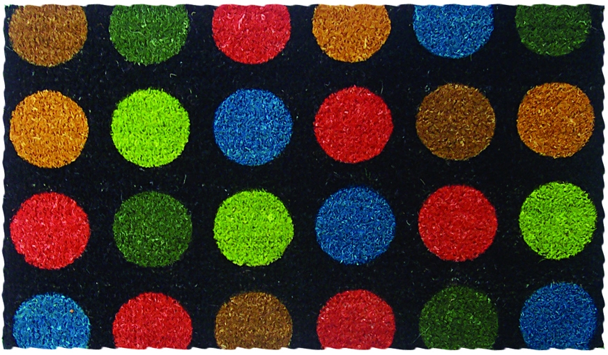Dots in Color Mid-Thickness Hand Woven Coir Doormat, 18 x 30 Inch