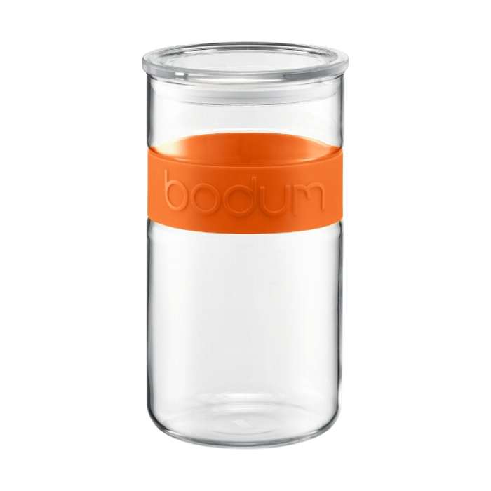 Bodum Presso Storage Jar With Orange Band, 68 Ounce