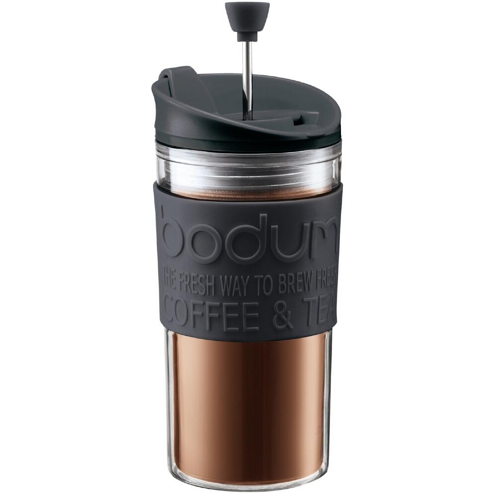 Bodum Travel Press Coffee Maker in Black with Bonus Lid, 12 Ounce