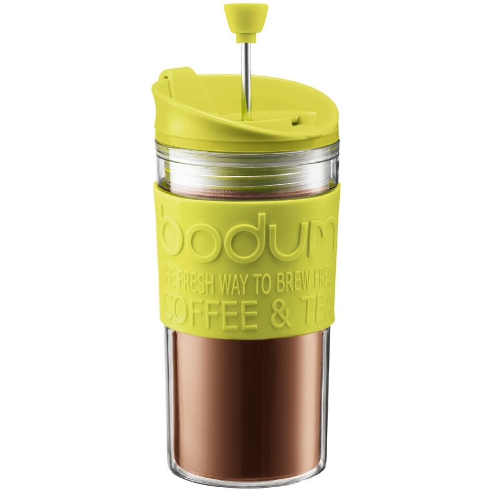 Bodum Travel Press Coffee Maker in Green with Bonus Lid, 12 Ounce