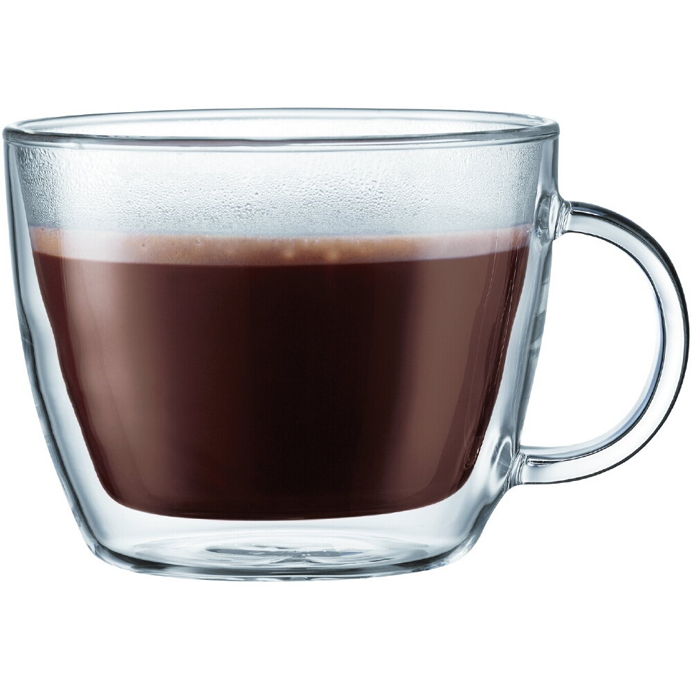 Bodum Bistro Double-Walled Transparent 15 Ounce Cafe Latte Mug, Set of 2