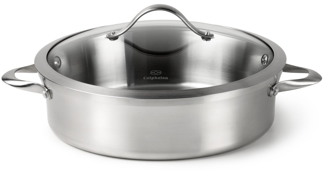 Calphalon Contemporary Stainless Steel Sauteuse with Lid, 5 Quart