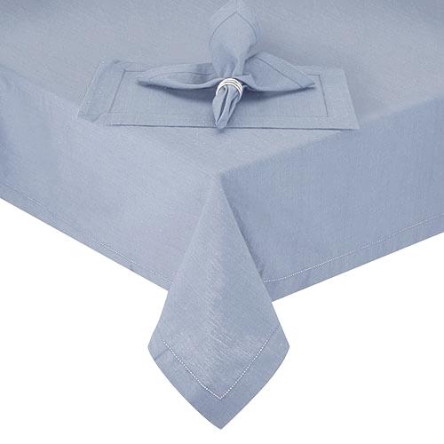 Vibrant Hemstitch Round Blue Cotton Fabric Tablecloth, 70 Inch