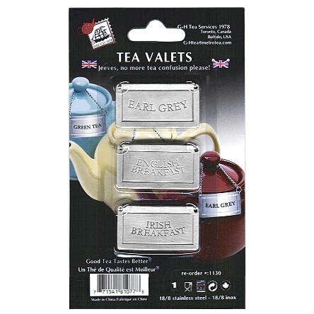 Stainless Steel Tea Valets - Earl Grey, English Breakfast, Irish Breakfast