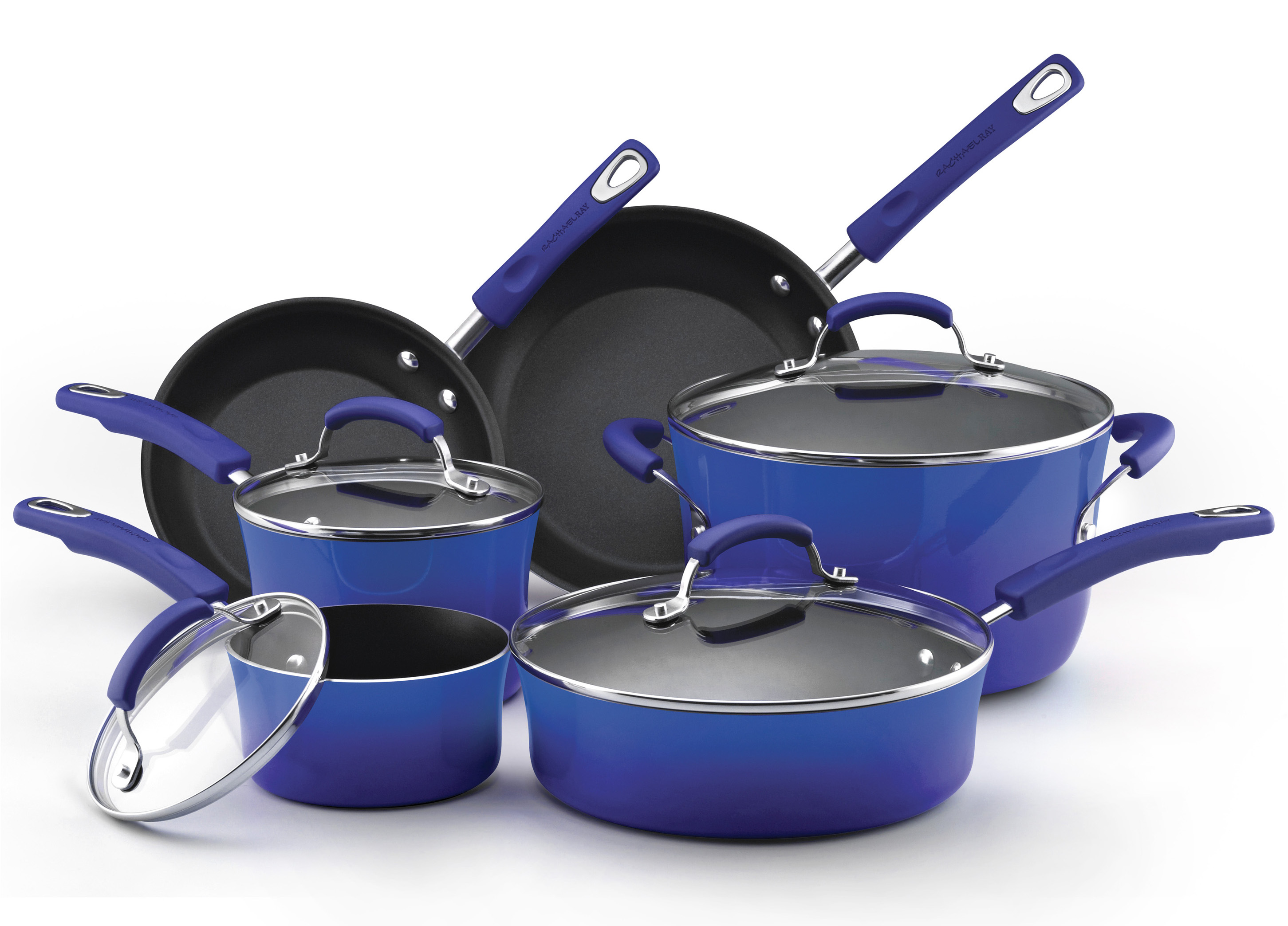 Rachael Ray Blue Porcelain Enamel II 10 Piece Cookware Set