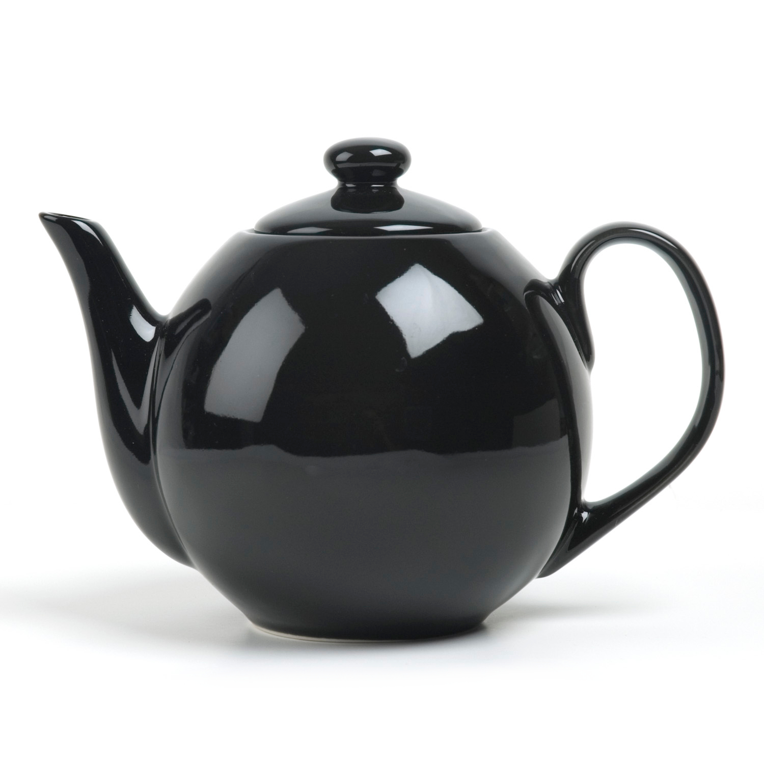 OmniWare Teaz Black Stoneware Lillkin 34 Ounce Teapot with Stainless Steel Mesh Infuser