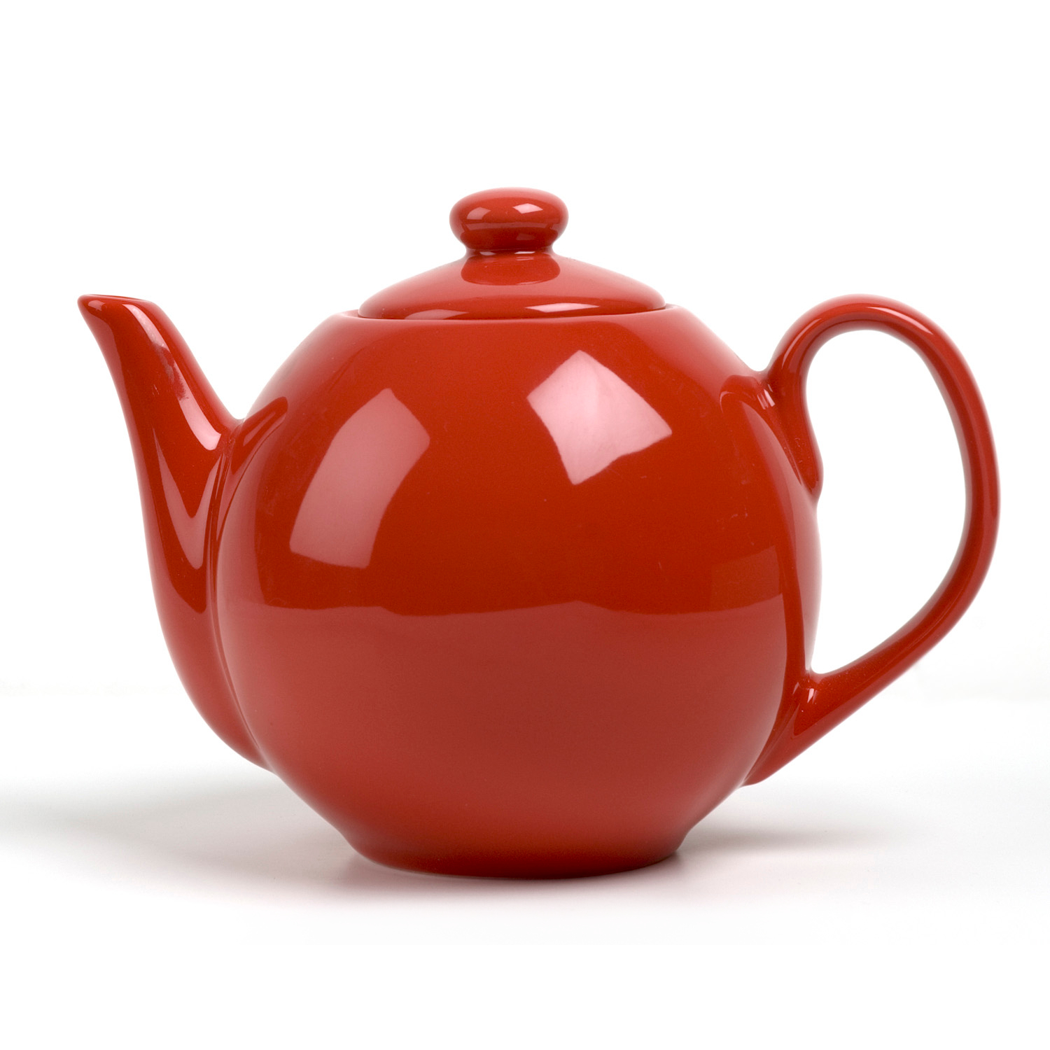 OmniWare Teaz Red Stoneware Lillkin 34 Ounce Teapot with Stainless Steel Mesh Infuser