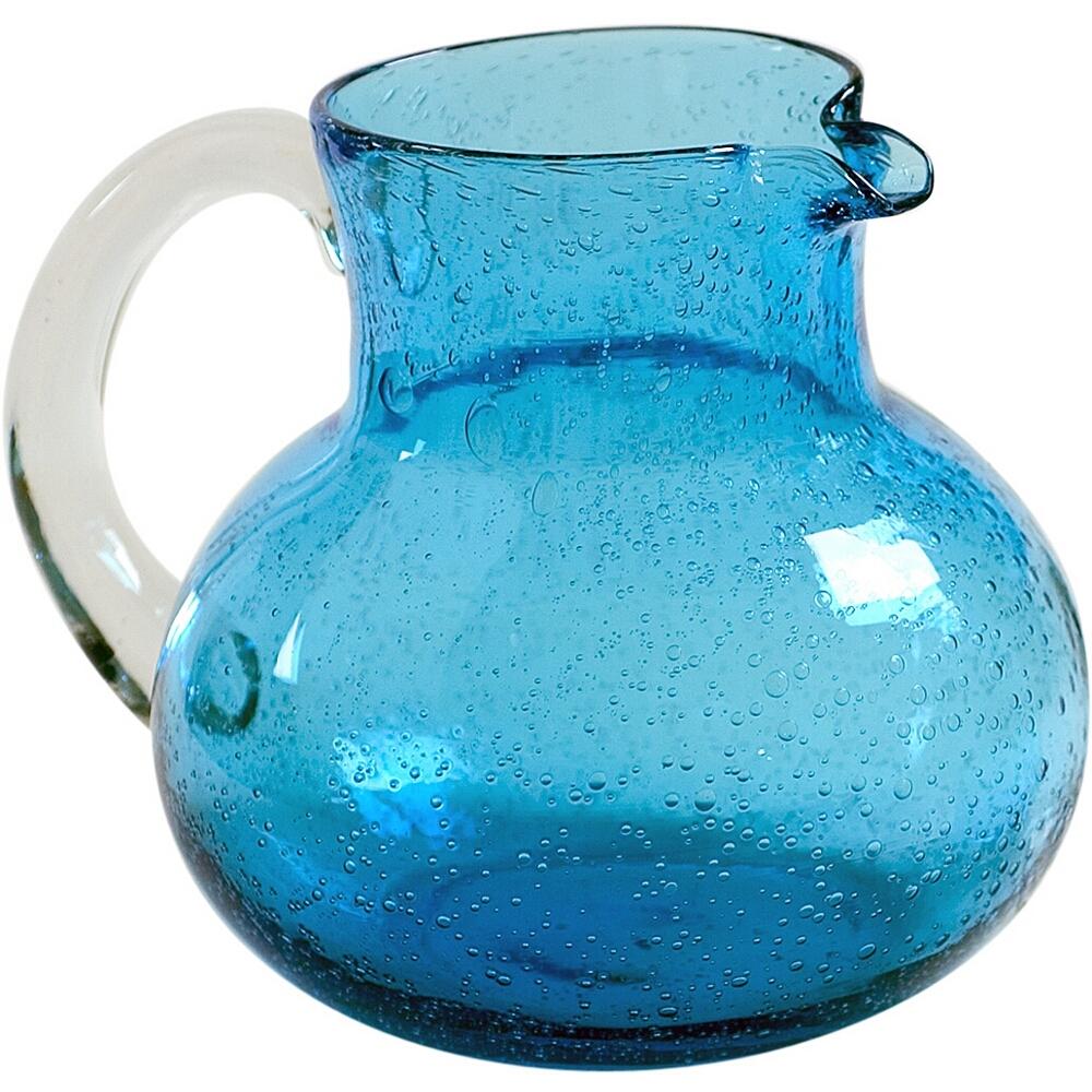 Artland Iris Turquoise Seeded Glass Pitcher, 90 Ounce