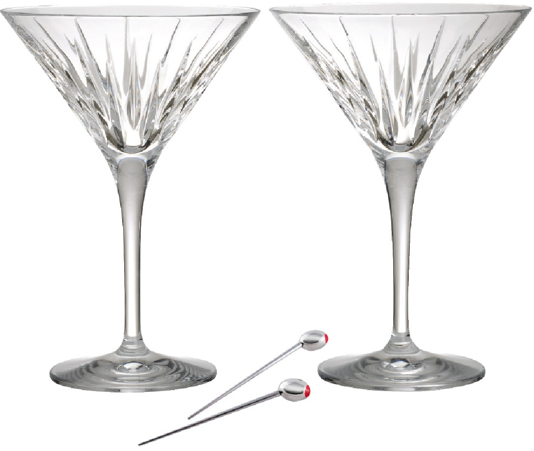 Reed & Barton Soho Crystal Martini Glass with Olive Picks, Service For 2