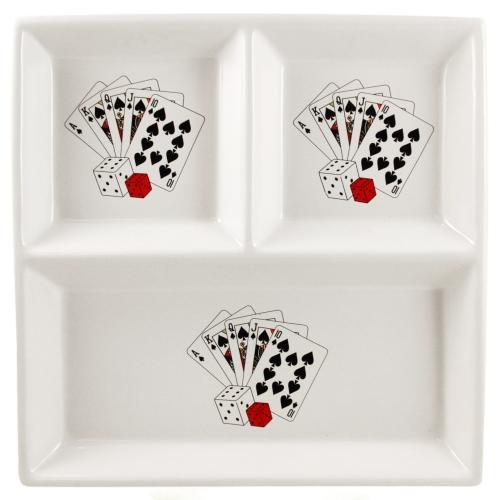 Ceramic Triple Compartment Square Poker Royal Flush Serving Dish