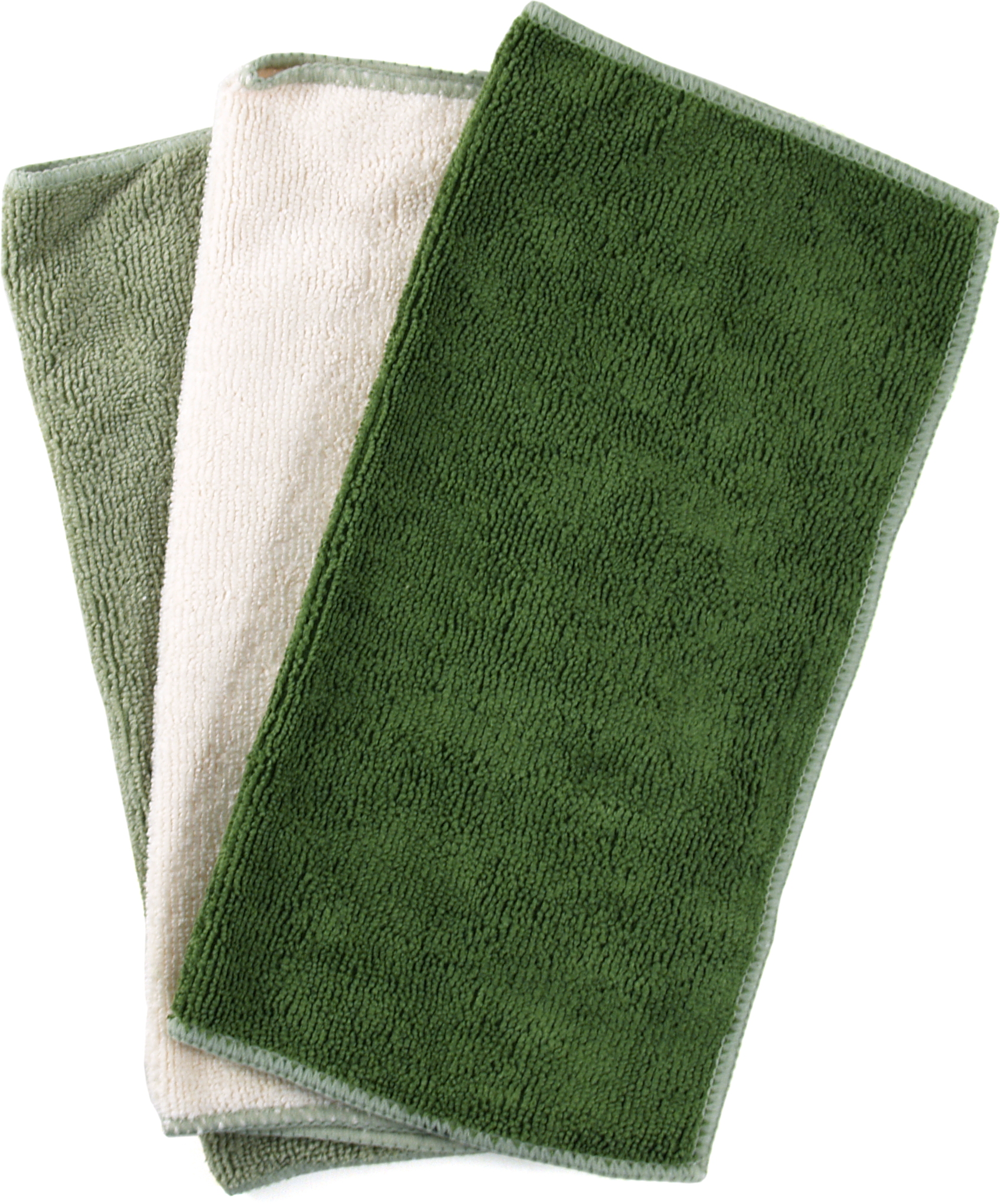 Green and Cream Microfiber Cleaning Cloth, Set of 10