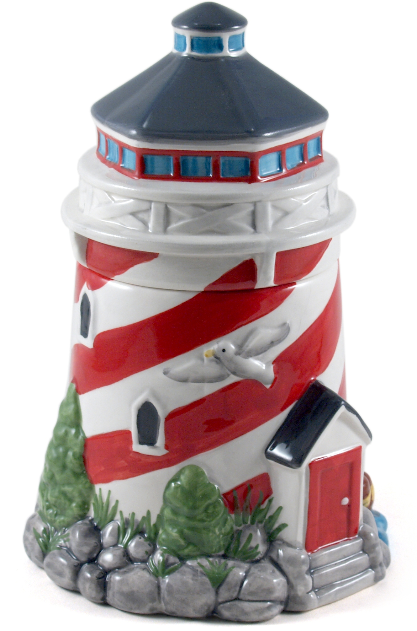 Ceramic Red And White Lighthouse Cookie Jar