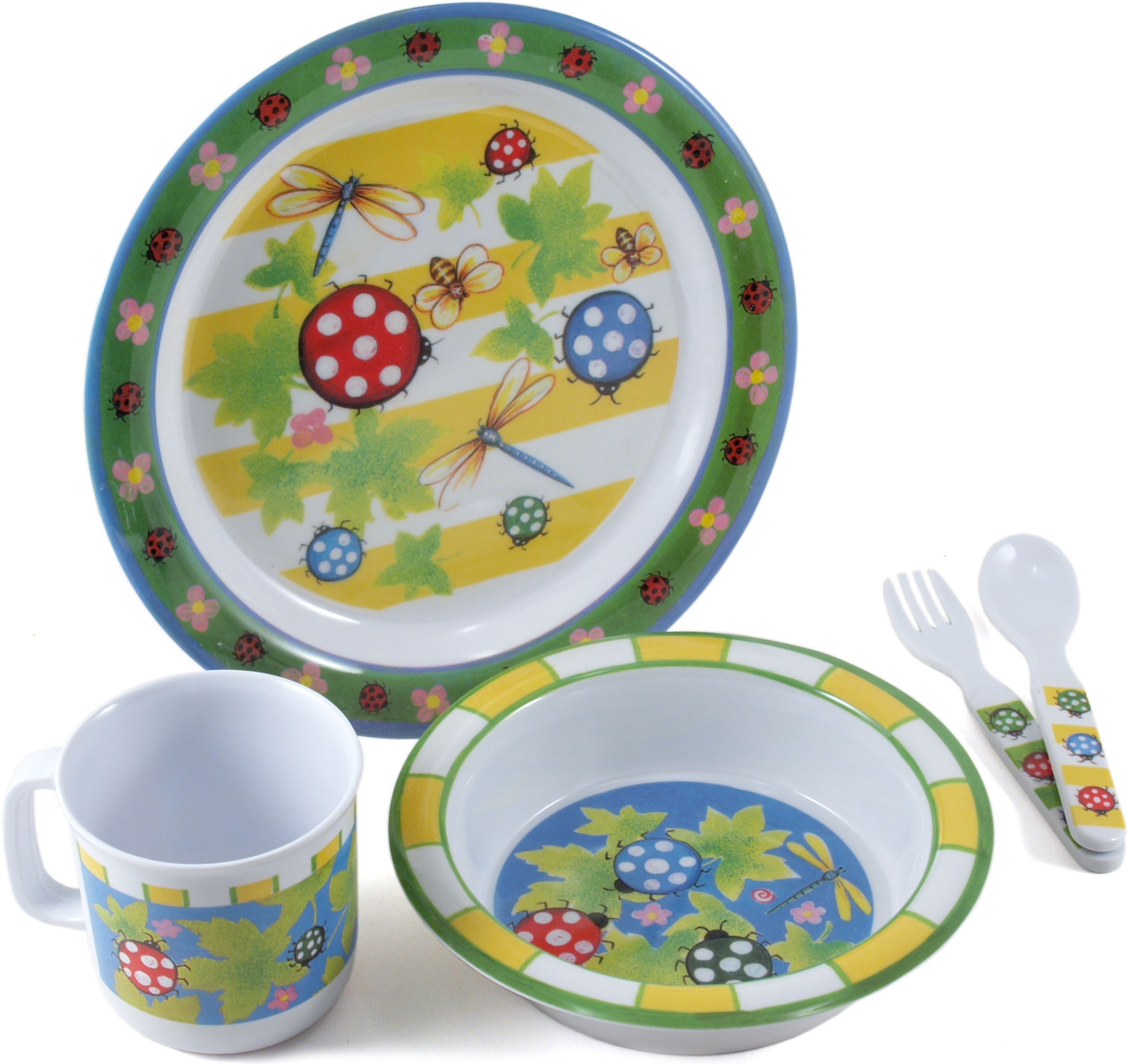 Home Essentials Kids Bugaboo Melamine 5 Piece Round Dinnerware Set