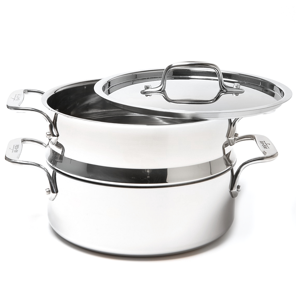 All-Clad D5 Brushed Stainless Steel Casserole with Lid and Steamer Insert, 3 Quart