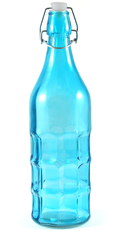 Complete Kitchen Blue Glass Dimple Bottle Bail