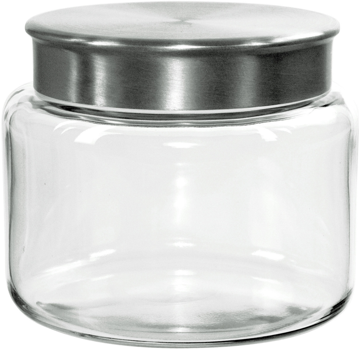 Anchor Hocking Mini Modern Montana Jar with Brushed Aluminum Cover, 48 Ounce