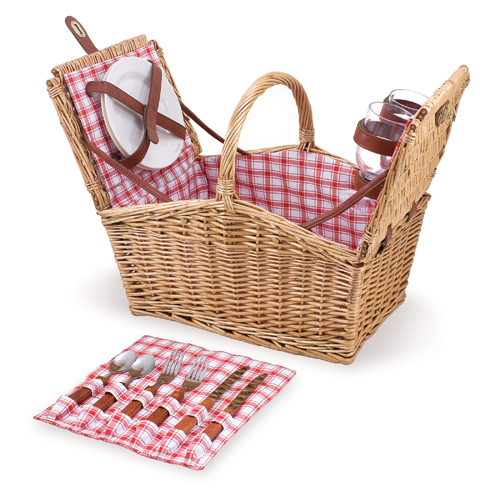 Picnic Time Red and White Plaid Piccadilly Picnic Basket