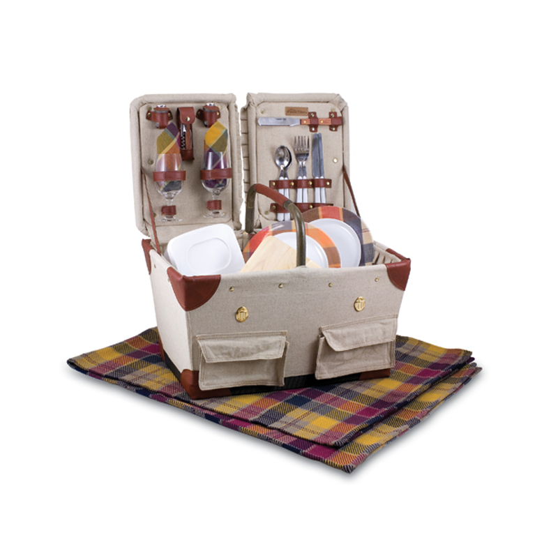 Picnic Time Pioneer Tan Picnic Basket With Burgundy Plaid Accents