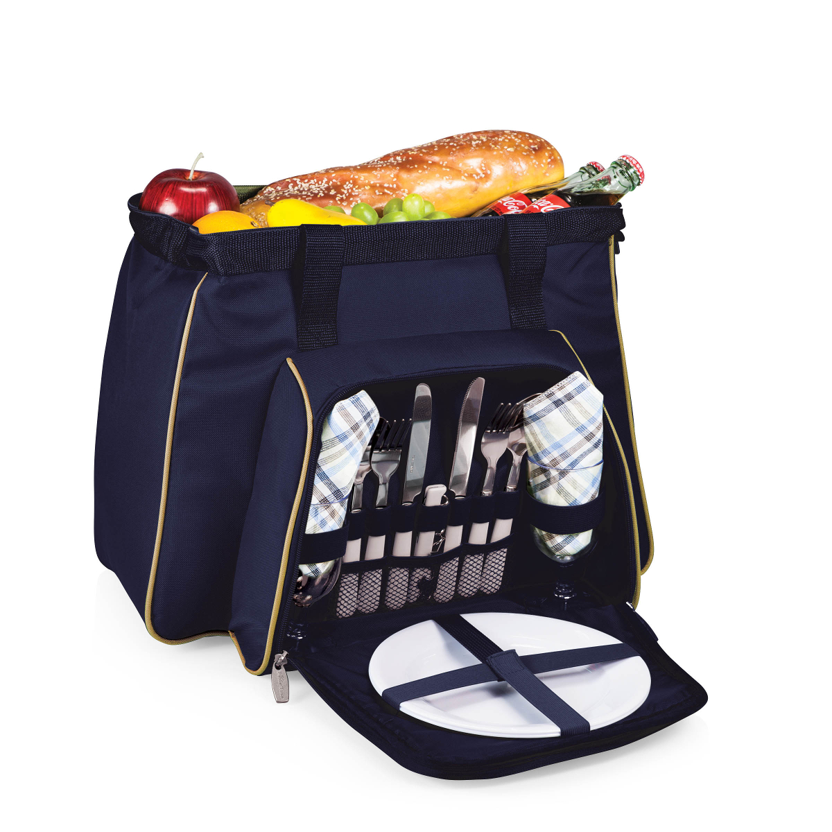 Picnic Time Toluca Navy Blue and Tan Cooler