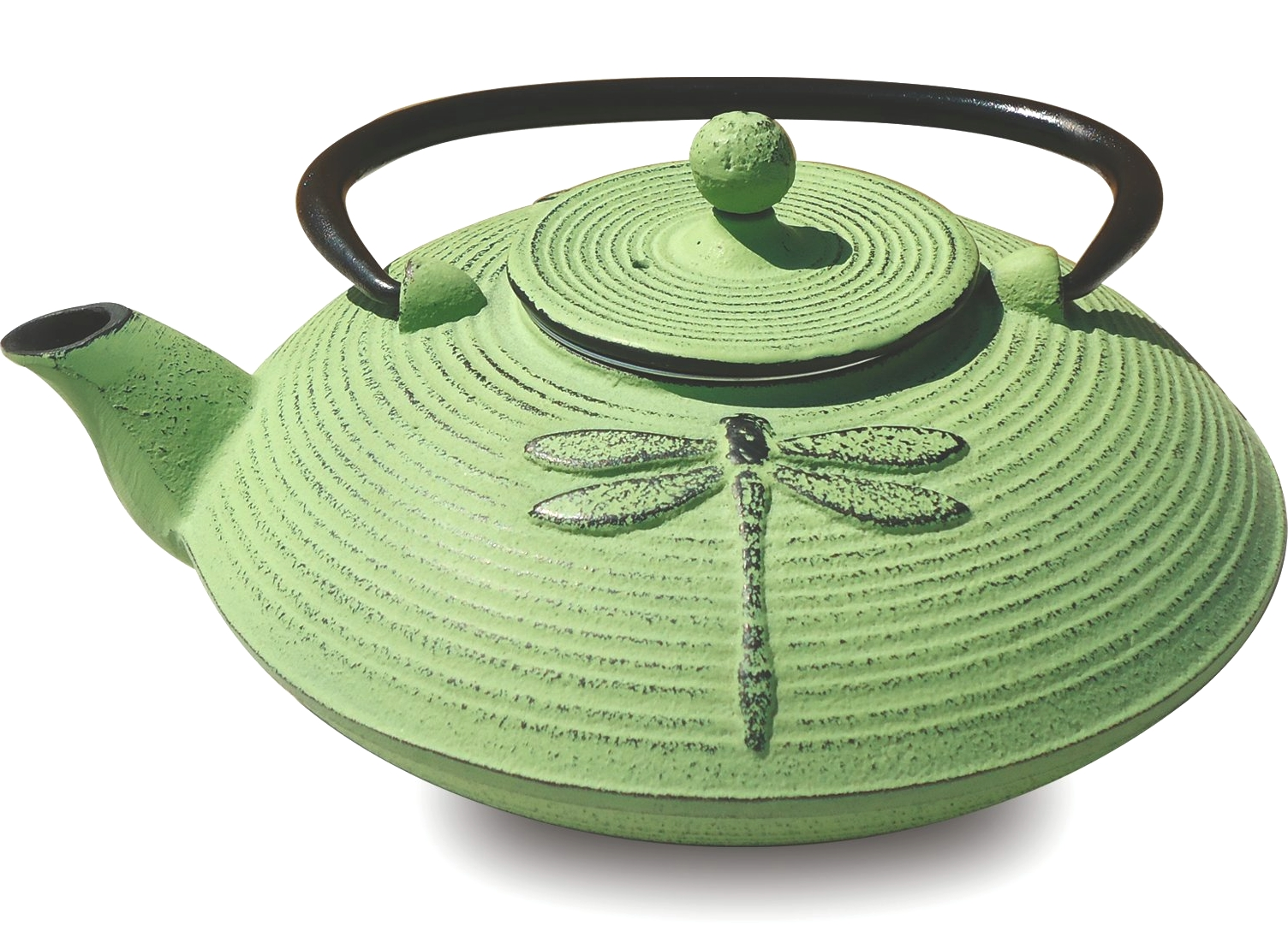 Old Dutch Placidity Moss Green Cast Iron Teapot, 26 Ounce