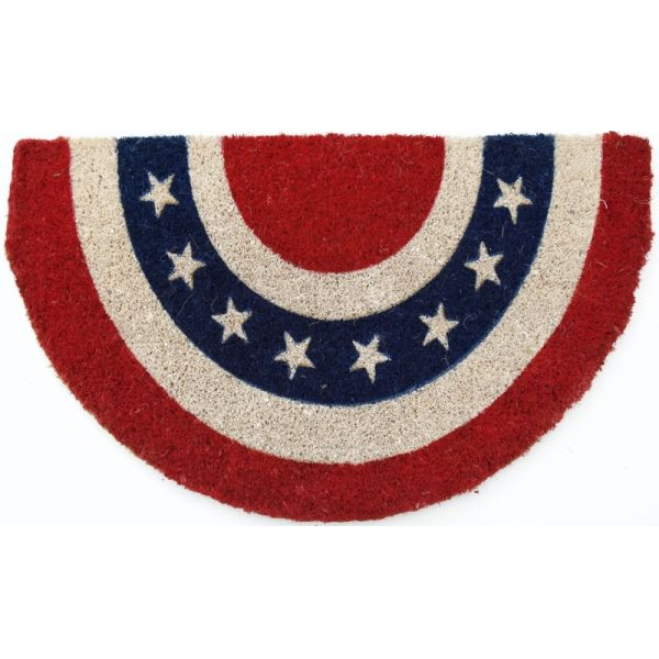 Americana Half Circle Mid-Thickness Hand Woven Coir Doormat, 18 x 30 Inch
