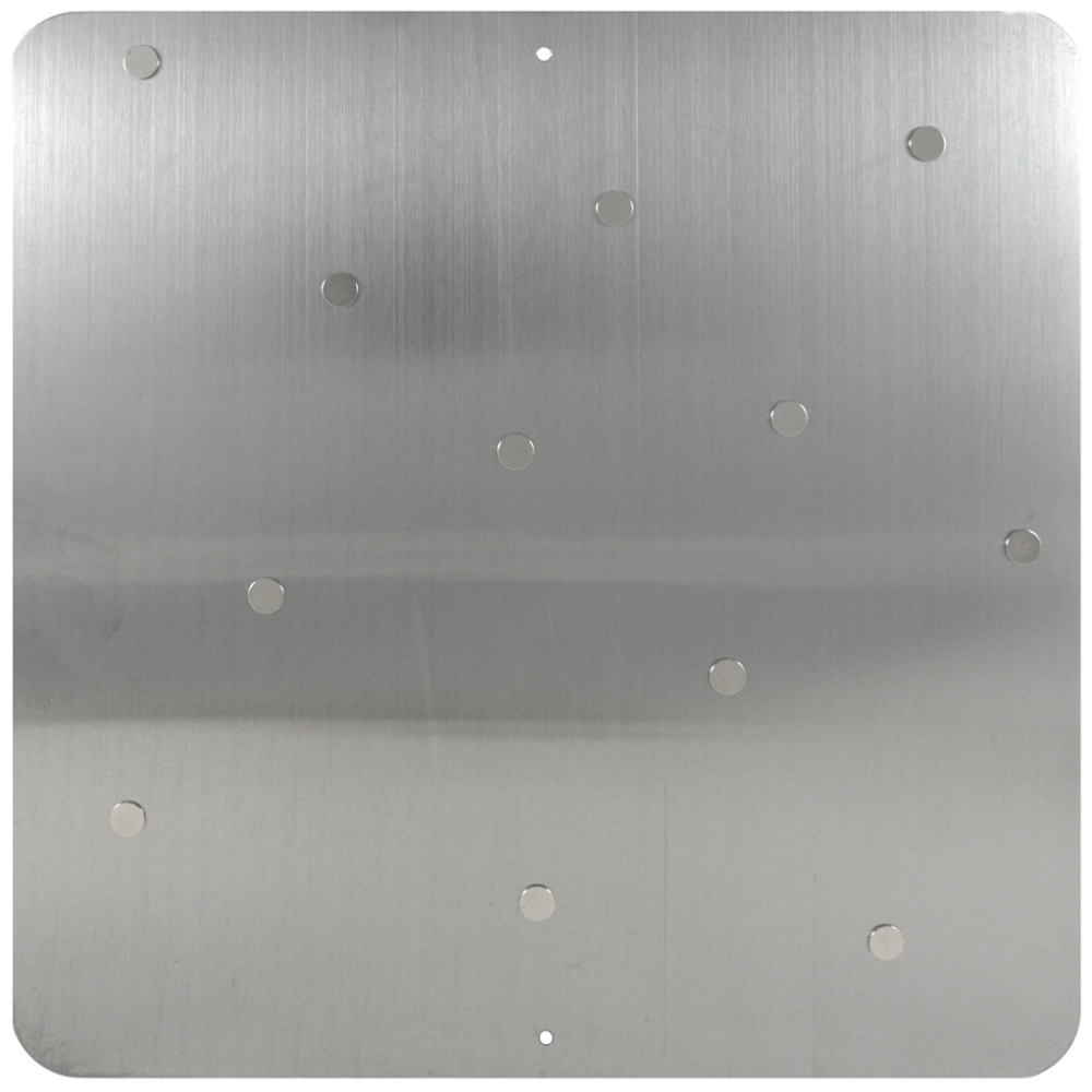 Three by Three Square Dot Stainless Steel Magnetic Bulletin Board, 12 Inch