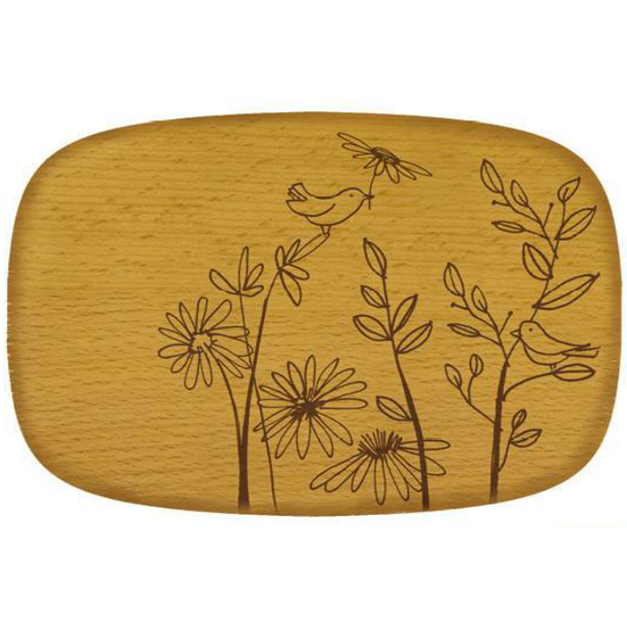 Talisman Designs Nature Bird and Flowers Beechwood Cheese Board