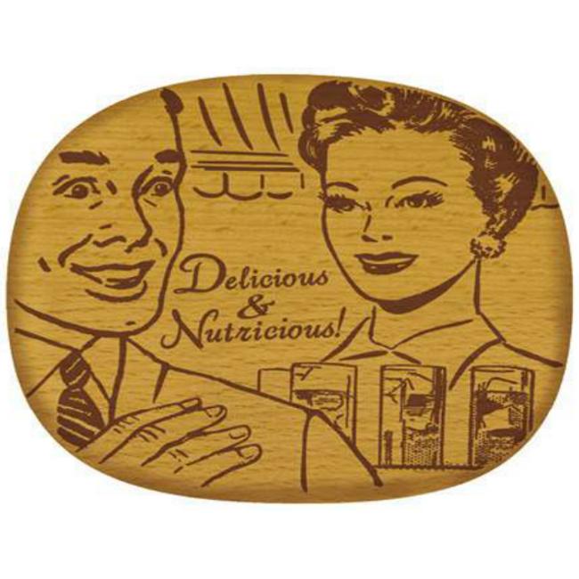 Talisman Designs Pop Art Beechwood Cheese Board, Delicious