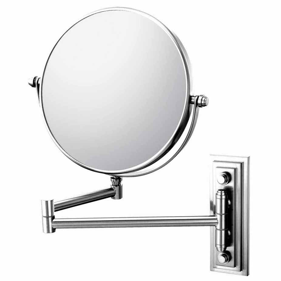 Mirror Image Chrome Reversible Round 5x Magnifying Folding Arm Wall Mirror