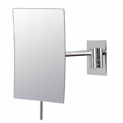 Mirror Image Chrome Rectangular Minimalist 3x Magnifying Wall Mirror