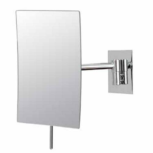 Mirror Image Chrome Rectangular Minimalist 3x Magnifying Wall Mirror