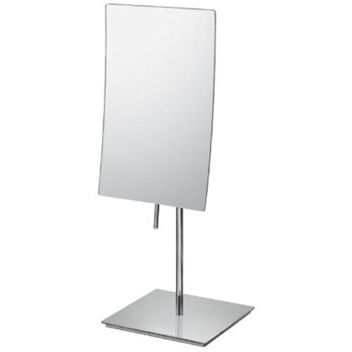 Mirror Image Chrome Minimalist Rectangular 3x Magnifying Vanity Mirror