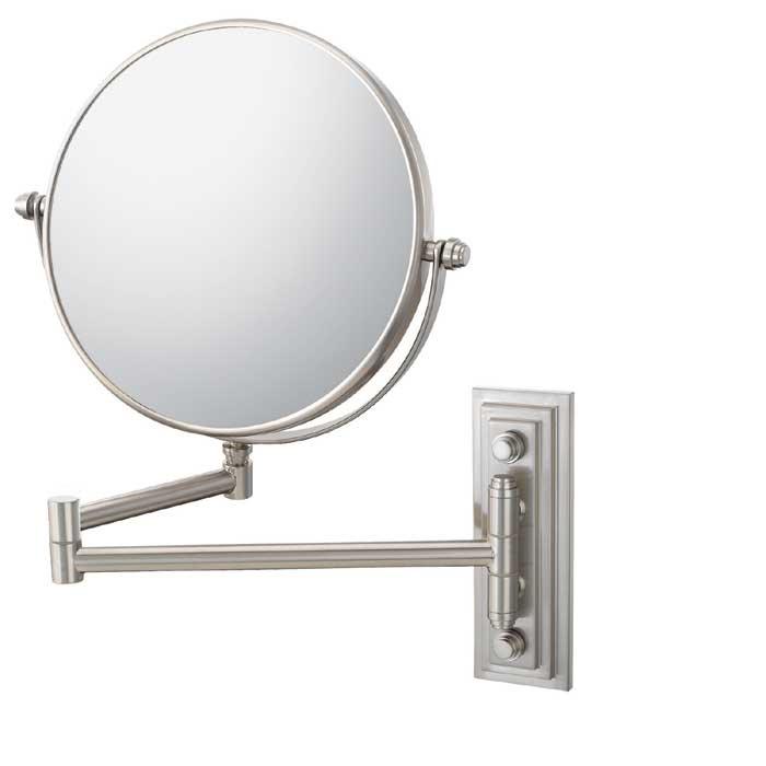 Kimball and Young Reversible Round 5x Magnifying Folding Arm Wall Mirror in Brushed Nickel