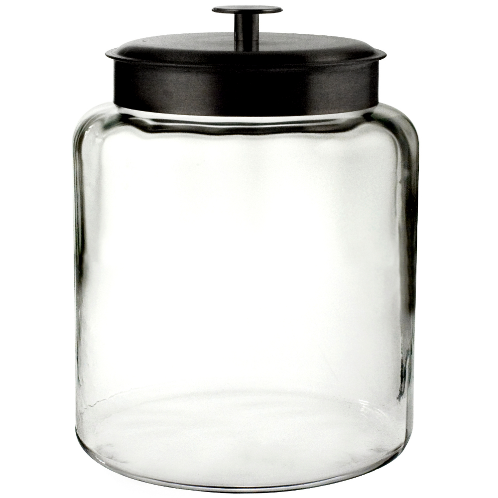 Anchor Hocking Glass Montana Jar with Black Metal Cover