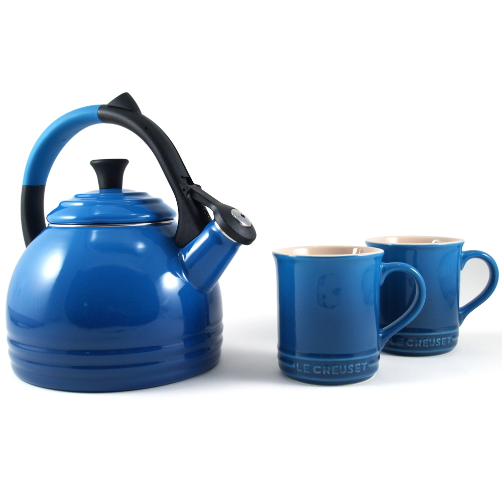 Le Creuset 3 Piece Marseille Blue Enameled Steel Kettle and Mug Set