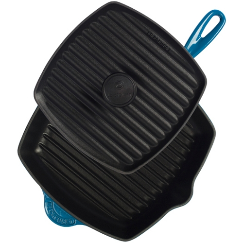 Le Creuset 2 Piece Marseille Blue Enameled Cast Iron Panini Press and Skillet Grill Set