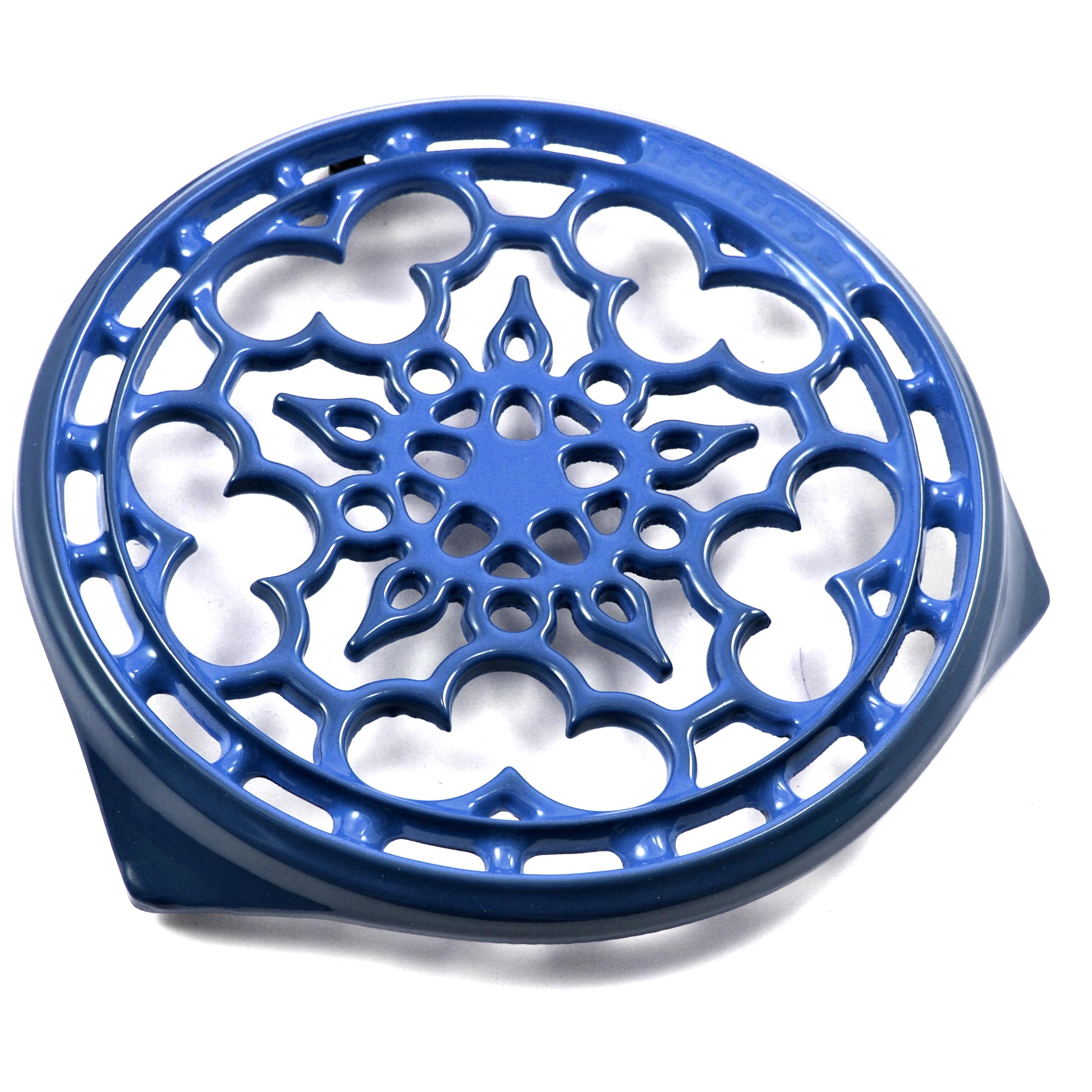 Le Creuset Marseille Blue Enameled Cast Iron Deluxe Round Trivet, 9 Inch