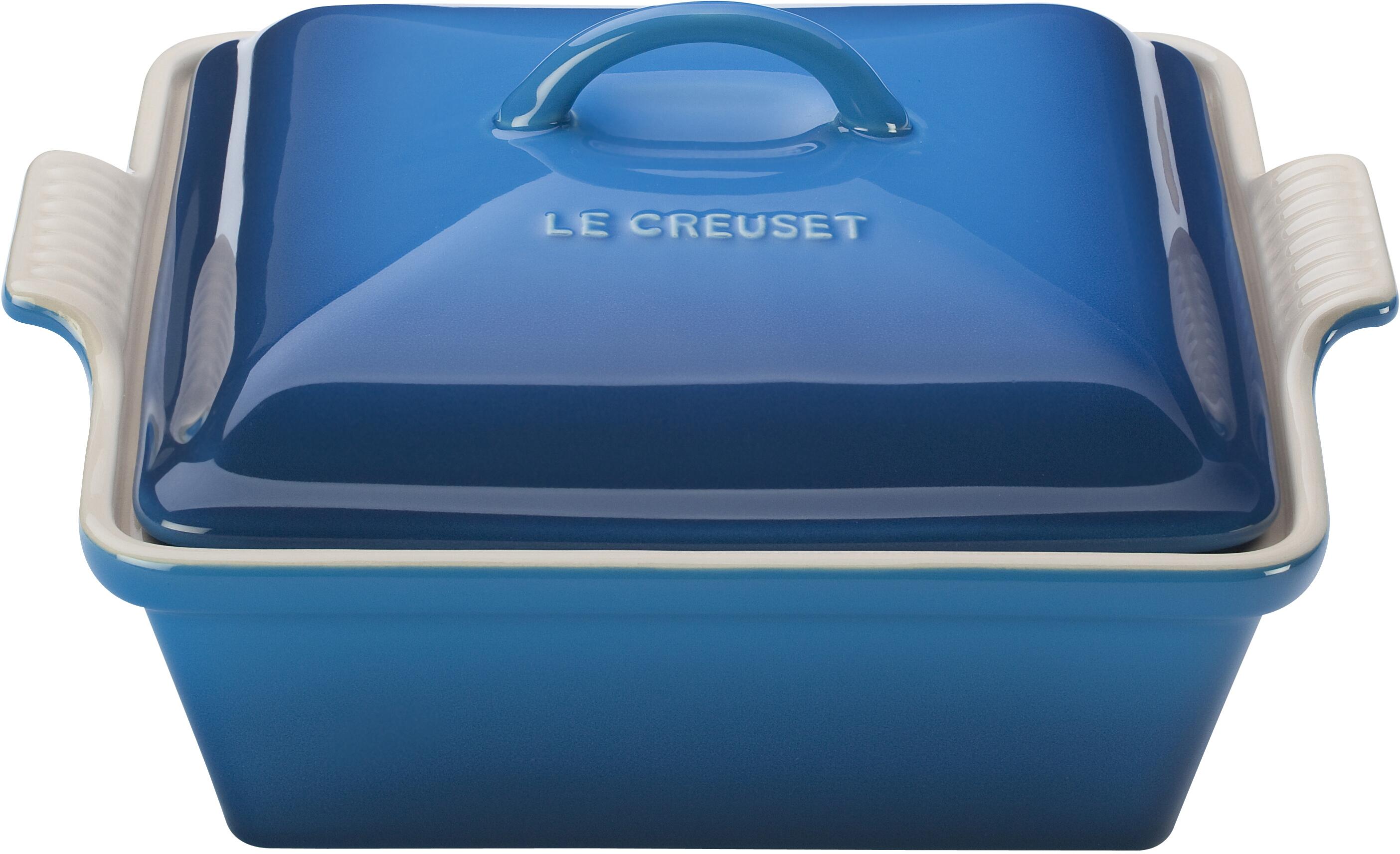 Le Creuset Heritage Marseille Blue Stoneware Covered Square Casserole Dish, 2.5 Quart