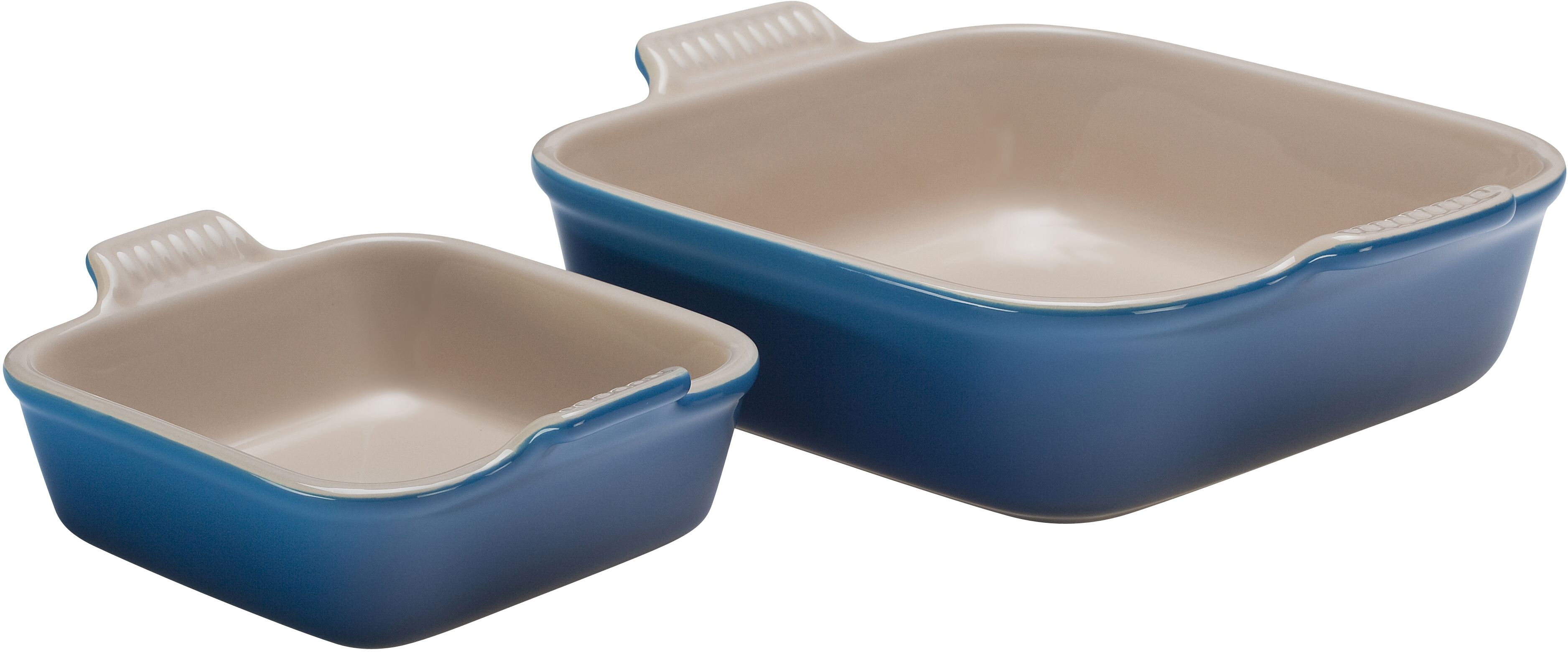 Le Creuset Heritage Marseille Blue Stoneware Square Baker, Set of 2
