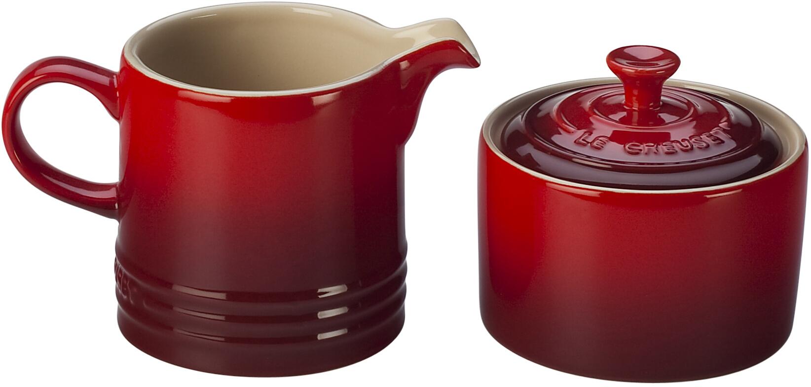 Le Creuset Cherry Stoneware Cream and Sugar Set