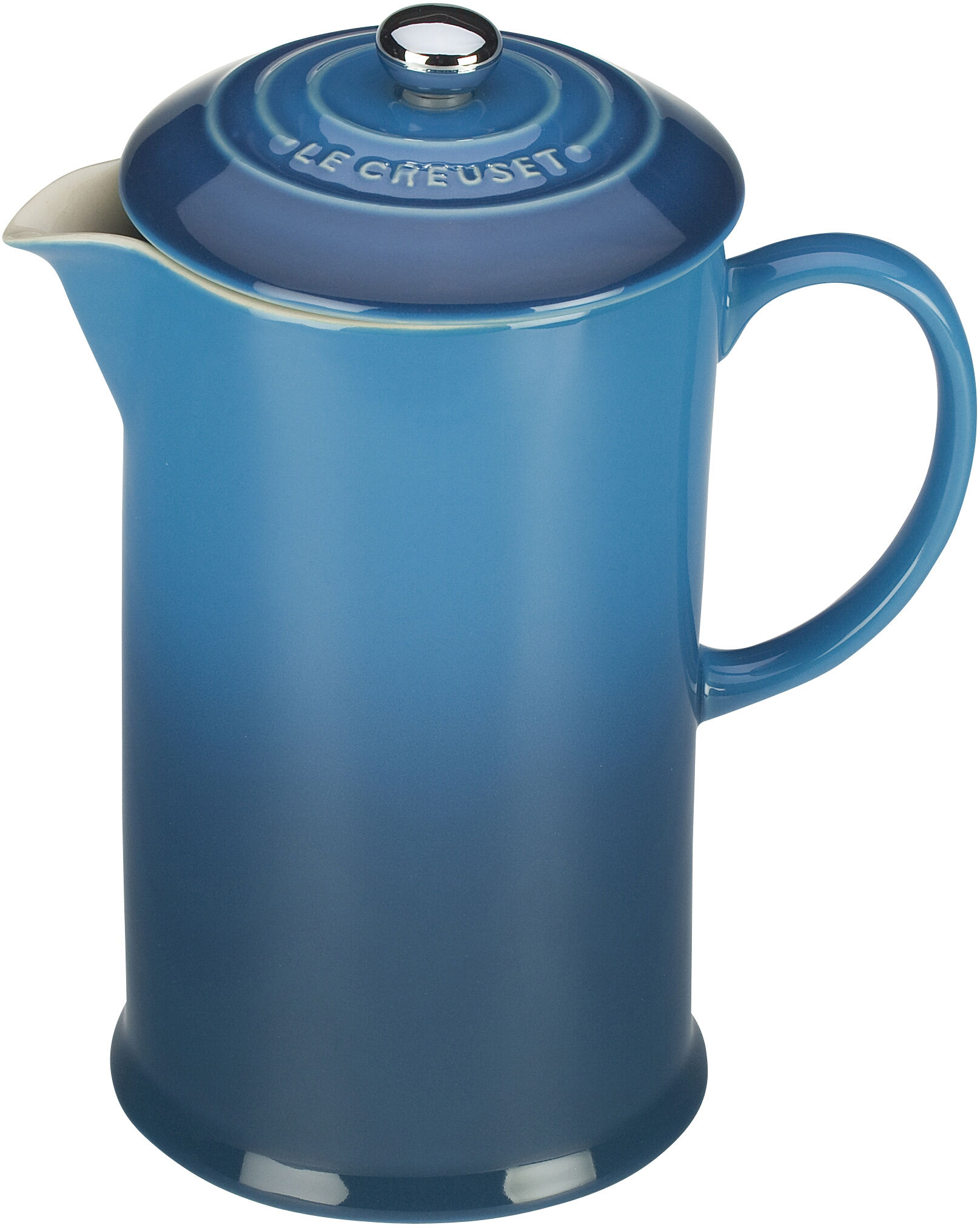 Le Creuset Marseille Blue Stoneware 27 Ounce French Press Coffee Maker