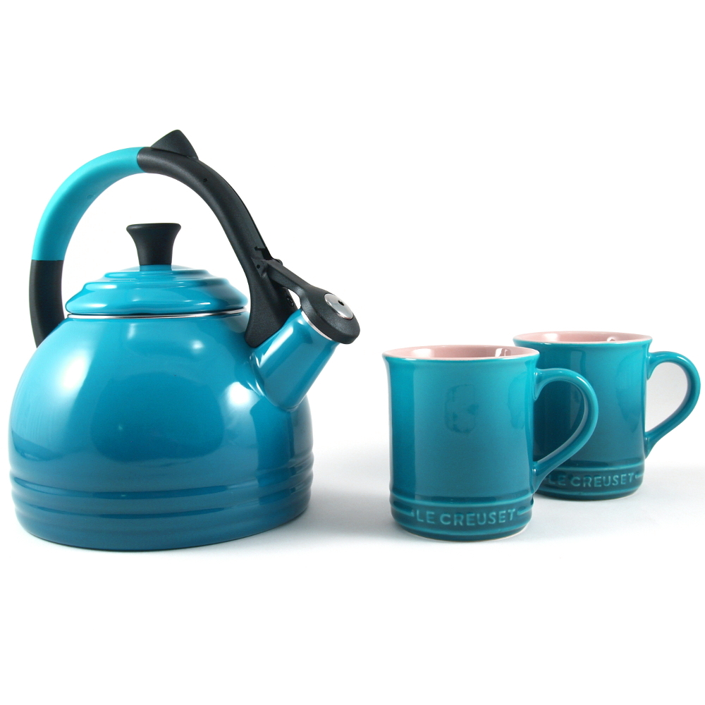 Le Creuset 3 Piece Caribbean Enameled Steel Kettle and Mug Set