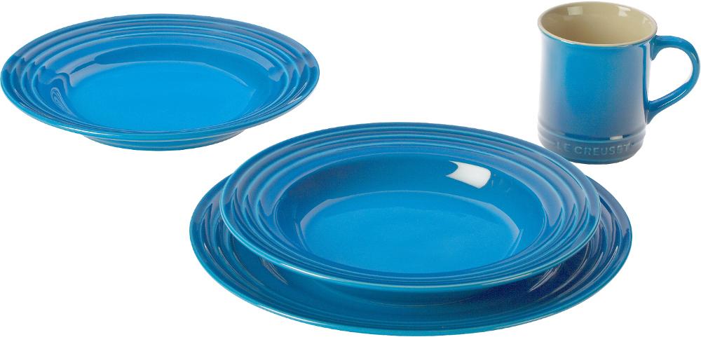 Le Creuset 16 Piece Marseille Blue Stoneware Dinnerware Set, Service for 4